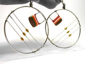 Large Hoop Earrings Upcycled Computer Jewelry Retro Stripe Orange Yellow Fall Fashion