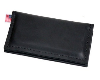 Leather iPhone Wallet - Black -  Classic No label - 100% Full Grain Leather - Made in the U.S.A. - Free Shipping