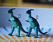 Blue Dinosaur Earrings; Parasaurolophus Earrings in Blue