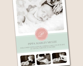 Monogrammed Chic Baby Girl Birth Announcement, in coral and mint, 4x6, 5x7 or 6x7.5 DIGITAL file, customizable colors