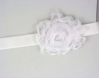 white shabby chic rose on white headband - newborn headband - infant headband - toddler girls headband - photo prop