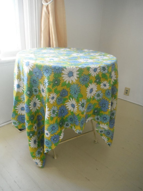 sale - vintage floral table cloth flower power linen table floral print cloth blues bright green white cottage country shabby hippie decor