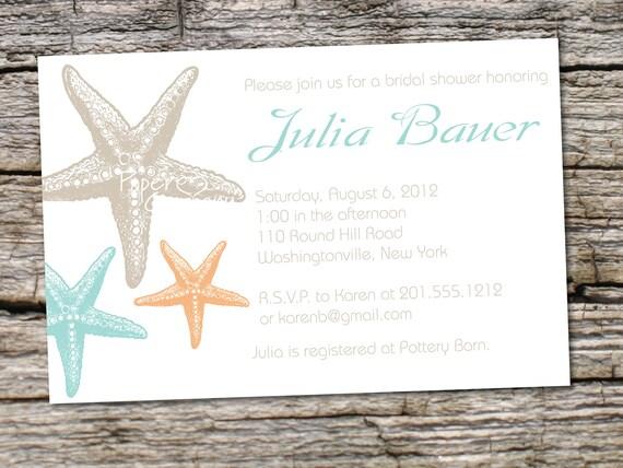 STARFISH ELEGANCE Bridal Shower Baby Shower Destination Wedding Invitation