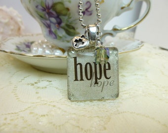 Hope Glass Tile Pendant Necklace 25mm