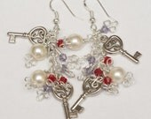 Dangle Earrings with Key Charms, Crystals and Pearls