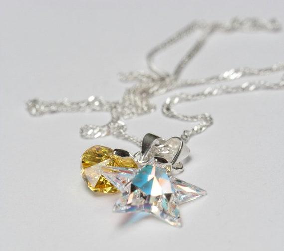 Swarovski Light Topaz AB heart and Crystal AB star Silver Necklace