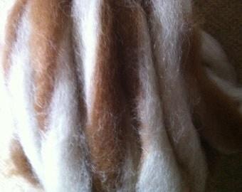 Alpaca Caramel Swirl roving Colorado alpaca fiber spinning fiber