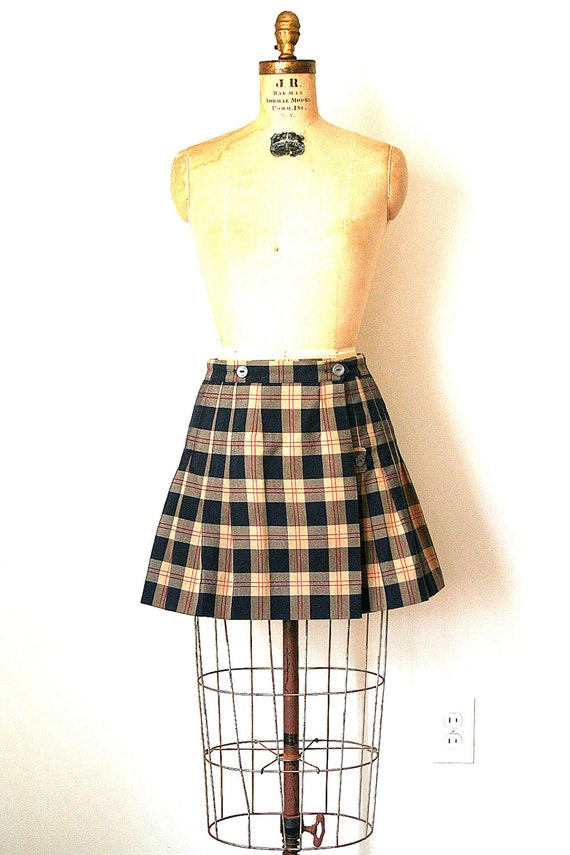 mini skirt / uniform kilt SCHOOL GIRL catholic PLAID navy blue & tan / cosplay / fetish . 28w