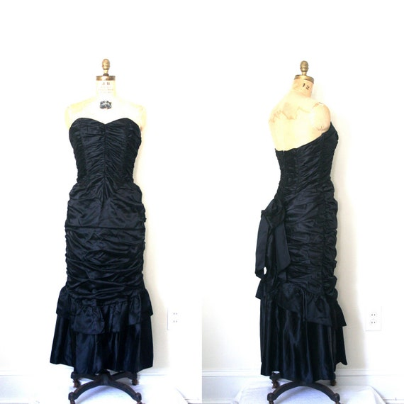 Reserved for K . mermaid dress GUNNE SAX black satin MORTICIA gothic victorian