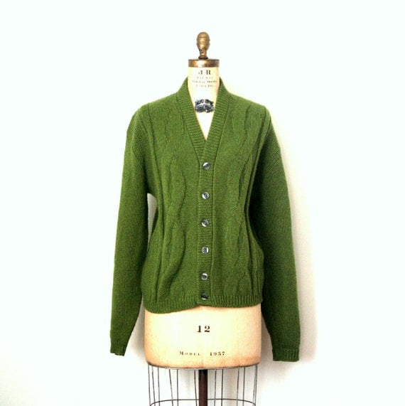vintage cardigan sweater PEA SOUP olive green GEEK hipster / punk 1960's wool . unisex