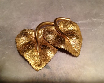 Vintage Dress Clip Coro or Haskell Gold Leaf Jewelry