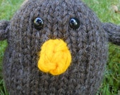 hand knit stuffed little brown bird toy