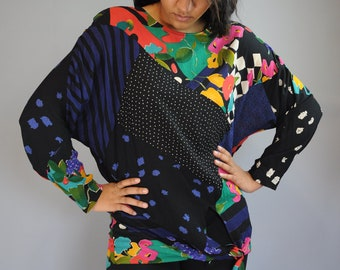 Vintage 80s Tie Front Blouse / Colorful Patchwork Top / Dolman Sleeve Sweater / S / M / L / Small / Medium / Large