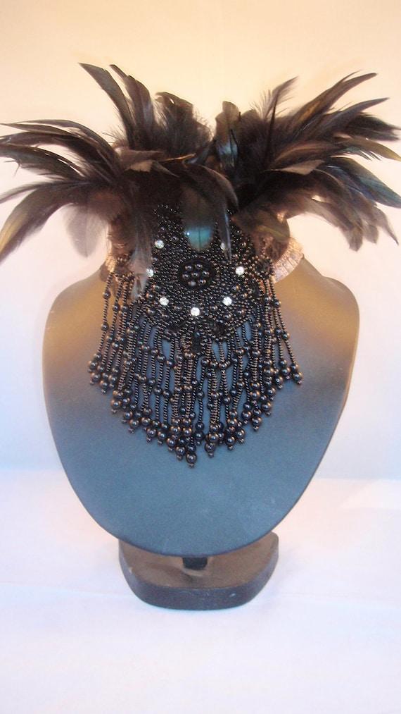 Feather and Bead collar.Burlesque Noir, gothic and tribal fusion feather and bead collar.