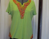 Reconstructed Recycled EcoFriendly Ladies' Top SS Apple Green Sz XL Embellished with Pumpkin Multi Indian Asian Ethnic