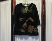 Reconstructed Recycled EcoFriendly Toddler Girls' Dress Long Sleeve Black Velour with Asian Indian Ethnic Embellishments