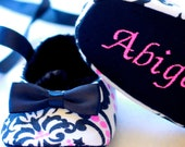 Black and Pink Damask, Baby Girl Shoes, FREE Personalization, Baby Shoes, New Baby Gift, Holiday, personalized baby girl shoes