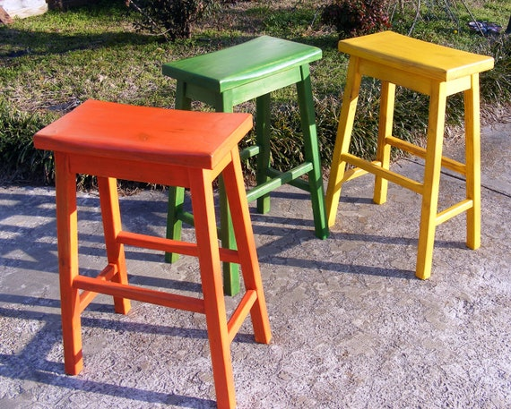 Saddle stools set of 3 handcrafted solid wood distressed - Bright colored bar stools ...