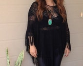 Sheer Knit Fringe Poncho
