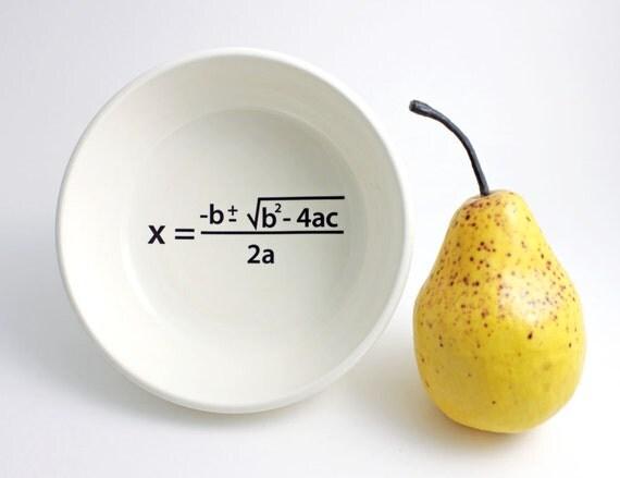 Quadratic Equation Math Bowl in Black and White