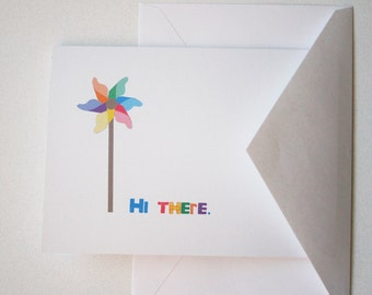 Hi There. -- One Greeting Card & Envelope in Classic White -- Adventures of the Pinwheel Series