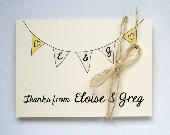 Wedding Thank You Notes -- Elegant Banner Folded Notes & Envelopes in Creamy Ivory- CHOOSE your QUANTITY