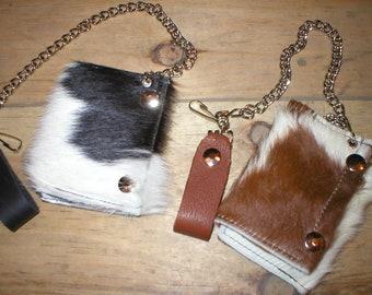 Handmade Leather hair-on hairy cowhide trifold snap trucker biker Wallet w/ belt chain