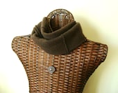 Cashmere Infinity Scarf CHOCOLATE BROWN Upcycled Felted Cashmere Cowl by WormeWoole