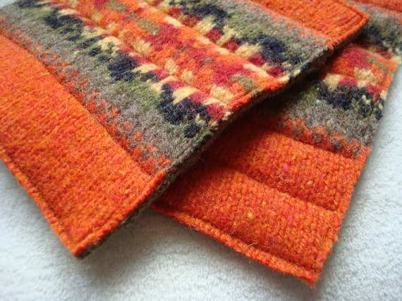 Eco Kitchen Wool Hot Pads / Pot Holders ORANGE & OLIVE Green Recycled