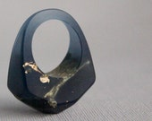 midnight sky size 8 eco resin faceted ring with gold leaf