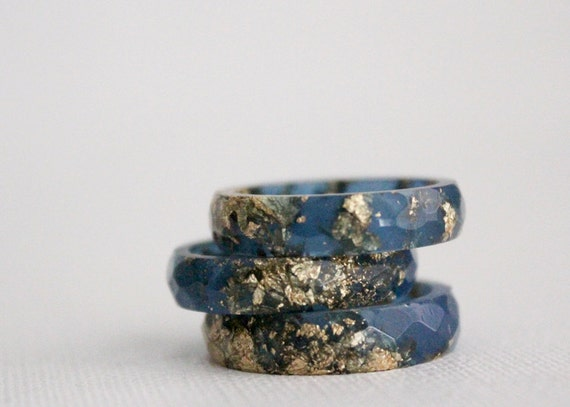 stacking ring size 7.5 thin multifaceted eco resin midnight blue with gold flakes