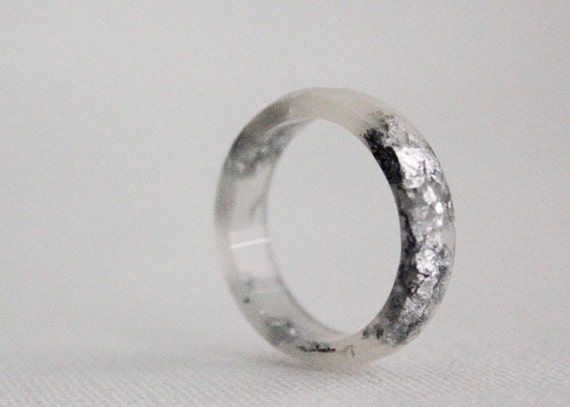 stacking ring thin multifaceted eco resin ring frost with silver flakes - size 7.5