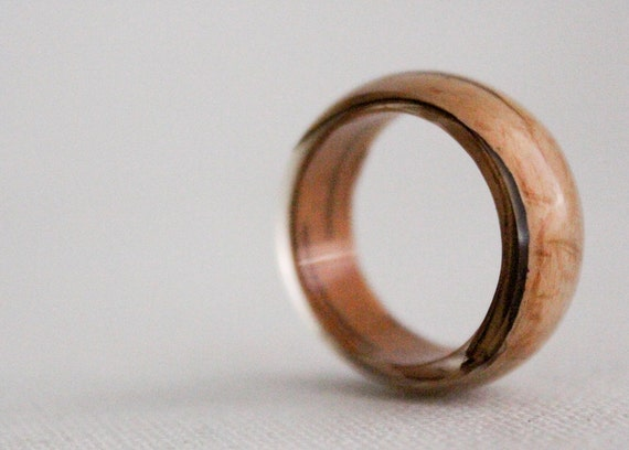birch bark size 6.5 transparent round resin eco ring