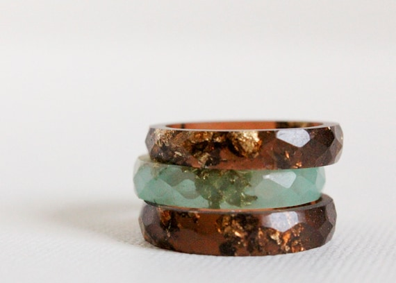 tiger eye size 8 thin multifaceted eco resin ring