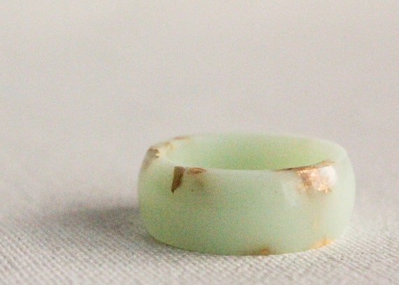 mint gold size 7.5 round resin eco resin ring