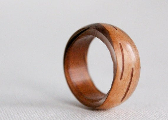 birch bark size 7 transparent round resin eco ring