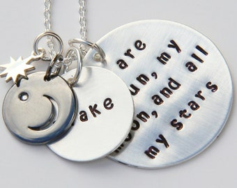 DIAMOND Mommy Necklace,  Love you to the Moon and Back,  Moon Necklace, New Mom Crescent Moon, Diamond Necklace, Poetry Necklace