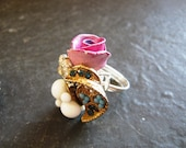 HANDMADE IN ENGLAND, Cluster Jewel Heart and Rose Tea-dress Ring, by Holly Daise on Etsy