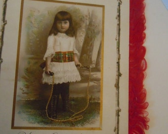 Victorian Christmas Antique Holiday Children's Fashion Silk Fringe Antique Card