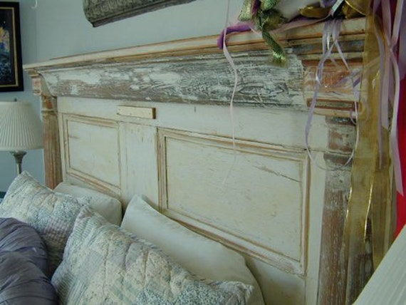 H9 artistic headboard or bed made from antique architectural - Headboard made from old door ...