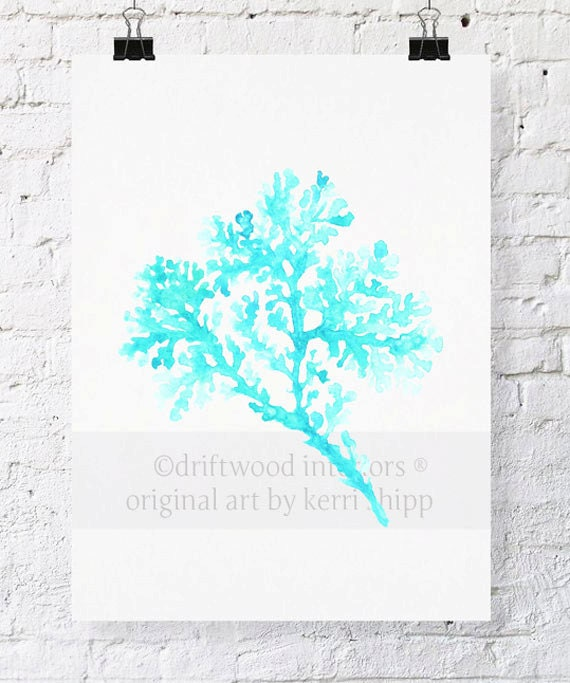 Seagrass in Turquoise Watercolor Print - Sea Life Art Print in Turquoise Blue - Sea Coral Prints
