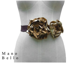 Rustic Wedding Sash Leather Flower Belt Metallic Gold &  Brown Leather Tie Belt, small - medium, in stock One of a kind