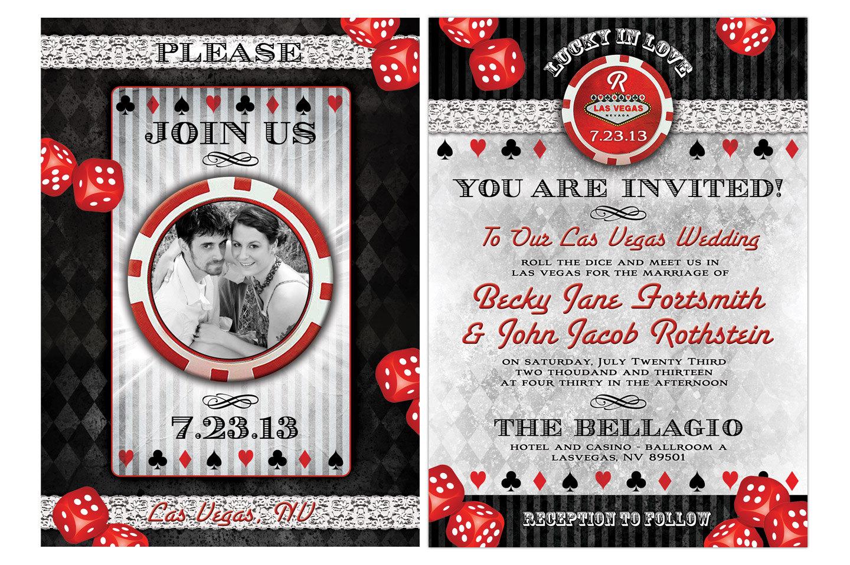 Vegas Wedding Invitation: Lucky In Love Las Vegas Destination Wedding Invitations. Vegas