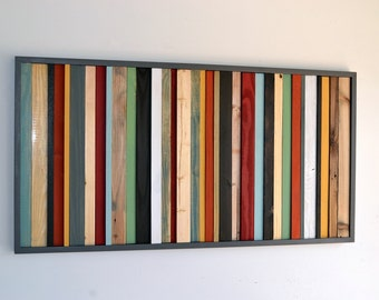 Wood Wall Art - Wood Art - Reclaimed Wood Wall Art - Stripes