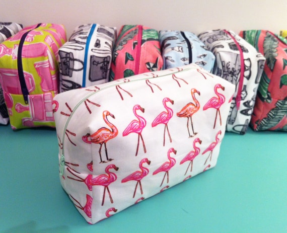 "Maxi Makeup Bag in ""Pink Flamingo"" print by Lis Sartori Designs"