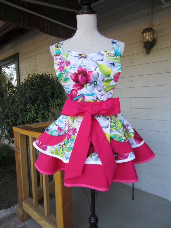 2 Tiered Retro Womens Apron in Pinks-n-Greens-n-Turquoise-n-White Watercolor Floral Print