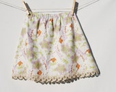 Eco Friendly Children - A Line Skirt  - Girls -  Floral Print with Lace - Organic Cotton Clothing - SALE