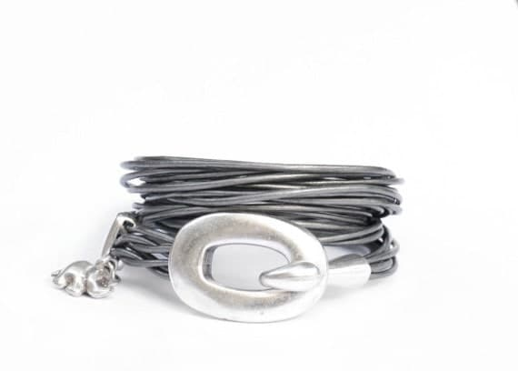 the lucky elephant Contemporary Buckle & Hook leather wrap bracelet with GOOD LUCK ELEPHANT. Silver