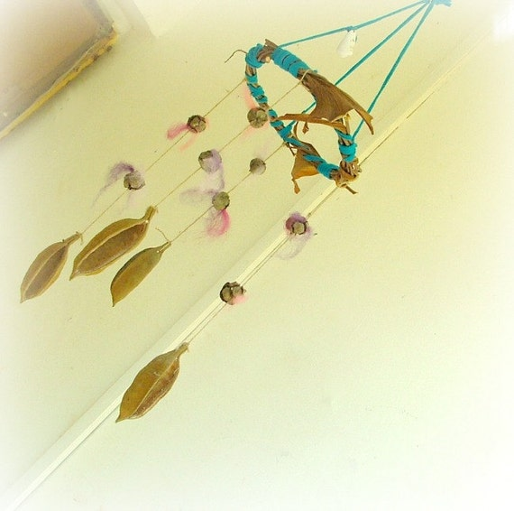 Baby mobile - baby crib mobile angel wings whimsical wool nursury mobile with beautiful brown pods