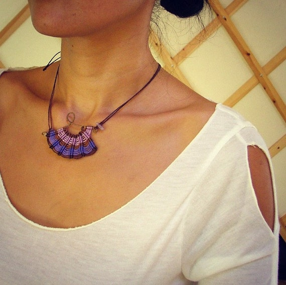 RESEVED FOR DANI-Lavender bliss asymmetrical macrame necklace